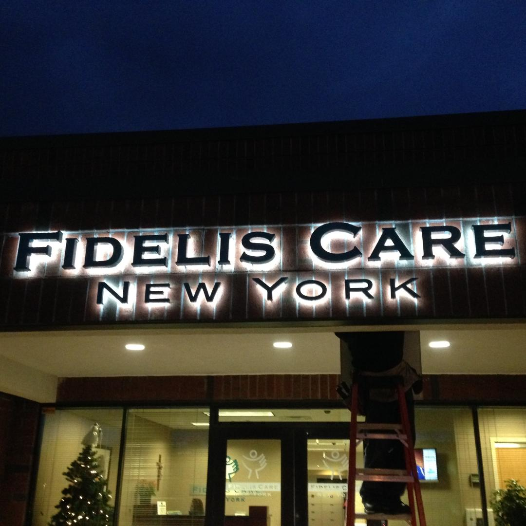 Painted Stainless Steel Letters with LED Lighting Fidelis Care Latham, NY