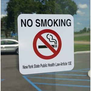 NO SMOKING New York State Public Health Law-Article 13E Decal