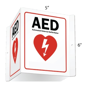 AED - Automated External Defibrillator Projecting 2 Sided Sign Aluminum